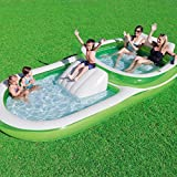 Bestway H2OGO! Two-In-One Wide Inflatable Family Outdoor Pool, Features Dual Pool and Slide Combo, Cup Holders, Easy Set Up, Green/White