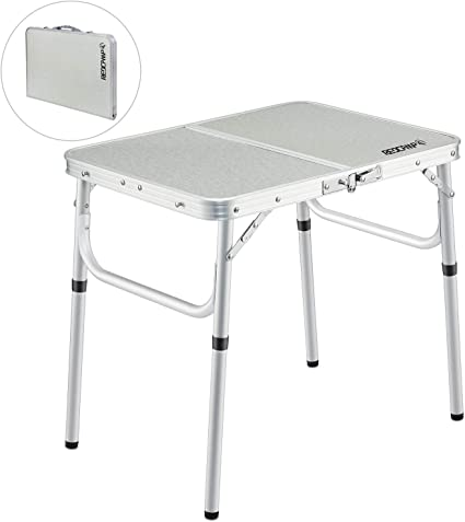 Amazon Com Redcamp Small Folding Camping Table Portable Adjustable Height Lightweight Aluminum Folding Table For Outdoor Picnic Cooking White 2 Foot Sports Outdoors