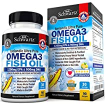 Omega 3 Fish Oil 3000mg Burp less. EPA 1200mg, DHA 900mg Fatty Acids. Highest Concentration Available. Best Non-GMO Pharmaceutical Grade Pills. Joint Support, Immune, Heart Health, Brain, Eyes, Skin