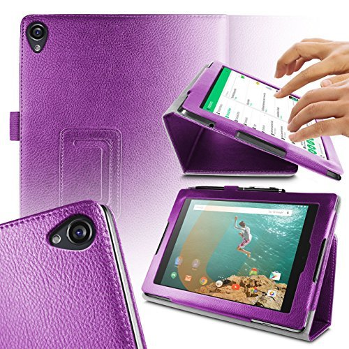 Orzly - TABLET STAND CASE for NEXUS 9 with AUTO SLEEP SENSORS - Tablet Case in PURPLE with Built-In Magnetic Lid for Secure Fastening & Integrated Sleep Sensors ( for Automatic Sleep / Wake / Standby functionality ) - Custom Built to fit the Google / HTC NEXUS 9 Tablet (2014 Version / 9 inch screen Model - Fits both Original Model and also 3G / LTE Versions )