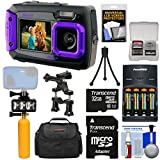 Coleman Duo 2V9WP Dual Screen Shock & Waterproof Digital Camera (Purple) with 32GB Card + Batteries & Charger + Diving LED Light + Buoy + Bike Mount + Case + Kit