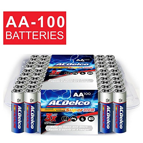 ACDelco AA Super Alkaline Batteries in Recloseable Package, 100 Count