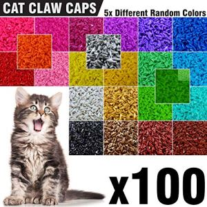 100 pcs Soft Cat Nail Caps for Cats Claws 5X Different Random Colors + 5X Adhesive Glue + 5X Applicator, Kittens Cap Tips, Kitten Pet Paws Claw Grooming Kitty Soft Covers 5