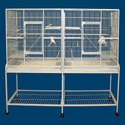 Large Double Flight Bird Wrought Iron Double Cage on Wheels