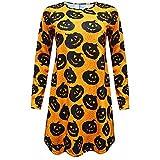 iLOOSKR New Womens Ladies Halloween Pumpkin Skull O-Neck Long Sleeve Print Loose Party Mini Dress Yellow