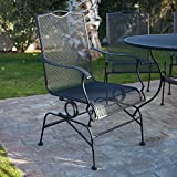 Belham Living Stanton Wrought Iron Coil Spring Dining Chair by Woodard - Set of 2 - Textured Black