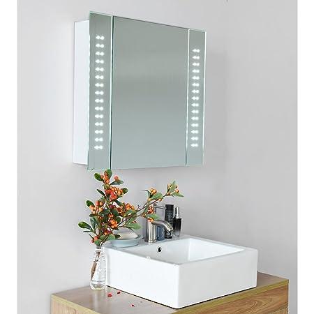 led illuminated bathroom mirror cabinet shaver demister sensor 60