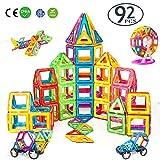 DARVIQS 92 Piece Magnetic Blocks, Magnetic Building Tiles Set, Creativity STEM Toy for Preschool Toddlers, Kids, Girls, Boys