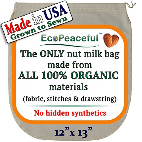 Nut Milk Bag - ALL 100% Organic Cotton (Fabric, Stitches, Drawstring)...