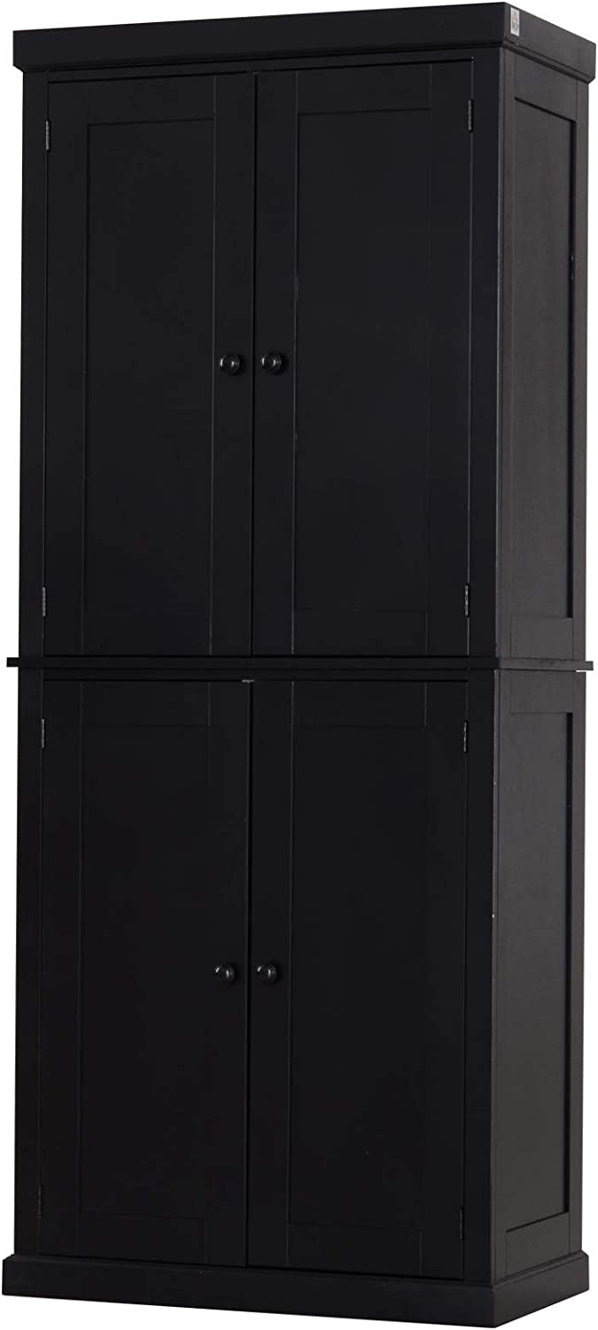 Amazon Com Homcom Traditional Farmhouse Kitchen Pantry Cupboard With Two Storage Cabinets And 4 Adjustable Shelves Black Furniture Decor