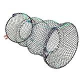 Jmkcoz 1PC Crab Trap Crawfish Lobster Shrimp Collapsible Cast Net Fishing Nets 10' x 17.7' (25cm x 45cm) Black Portable Folded Fishing Accessories