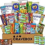 CraveBox Healthy Care Package (30 Count) Natural Bars Nuts Fruit Health Nutritious Snacks Variety Gift Box Pack Assortment Basket Bundle Mix Sampler College Student Office Fall Semester Back to School