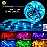LED Strip Lights, 16.4ft RGB LED Lights 5050 LEDs Color Changing Strip Lights with 24key Remote and 12V Power Supply, LED Light Strip Mood Lighting for Home Kitchen Deck for Larger Size TV 70-100in