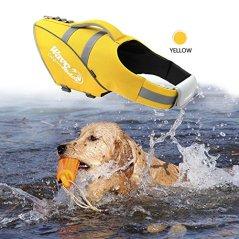 BOCHO-Wave-Riders-Reflective-Dog-LifeJacket-Super-Buoyancy-and-EVA-Lining-Adjustable-Dog-Safety-Vest-Medium-Yellow