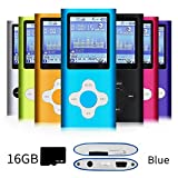 G.G.Martinsen brightblue Stylish MP3/MP4 Player with a 16GB Micro SD Card, Support Photo Viewer, Mini USB Port 1.8 LCD, Digital Music Player, Media Player, MP3 Player, MP4 Player