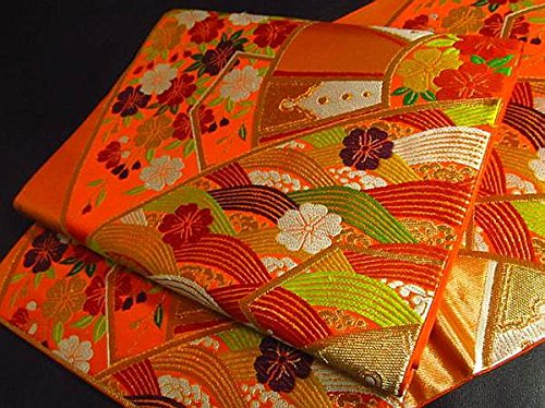 Japanese Silk Obi of orange gold thread (Lucky sign pattern)
