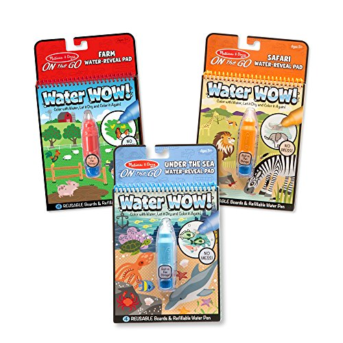 Melissa & Doug Water Wow! Reusable Color with Water Activity Pad 3-Pack, Farm, Safari, Under the Sea, 10