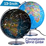 ZUEDA 13 Inch Cartography Illuminated World Globe, Desktop LED Star Constellation Globe & Nightlight with Steel Stand, 3-in-1 Exploration Earth Globe for Kids