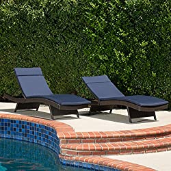 Lakeport Adjustable Outdoor Chaise Lounge Chairs Brown with Navy Cushions (Set of 2)