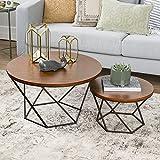 WE Furniture Geometric Wood Nesting Coffee Tables - Walnut/Black