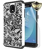 Galaxy J3 Orbit/ J3V J3 V 3rd Gen/Express Prime 3/ J3 Star/ J3 Achieve/Amp Prime 3/ J3 Aura/Sol 3 Case, Androgate Hybrid Cover Case with Screen Protector for Samsung Galaxy J3 2018, Floral Pattern