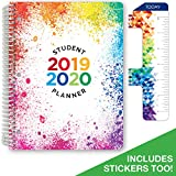 Dated Elementary Student Planner for Academic Year 2019-2020 (Block Style - 8.5'x11' - Paint Splatter Cover) - Bonus Ruler/Bookmark and Planning Stickers