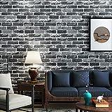 Akea Gray Brick Wallpaper Roll, 3D Effect Fake Faux Brick Blocks Vintage Home Decoration (Grey)