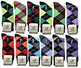 USBingoshopTM Mens Cotton Dress Socks (10-13, Argyle-2) pack of 12