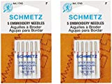 Euro-Notions Embroidery Machine Needles, Size 11/75, 5-Pack (2 pack)