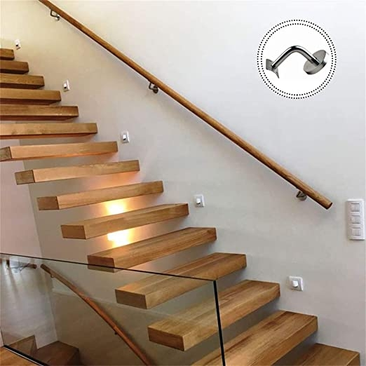 Amazon Com Round Staircase Handrail With Stainless Steel Brackets   Wood And Steel Handrail   Wood Framed   Interior   Round   Rustic   Glass