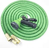 ALL NEW 2017 Garden Hose 50 Feet Expandable Hose With All Brass Connectors, 8 Pattern Spray Nozzle And High Pressure, {IMPROVED WITH BRASS VALVE HANDLE } Expanding Garden Hose