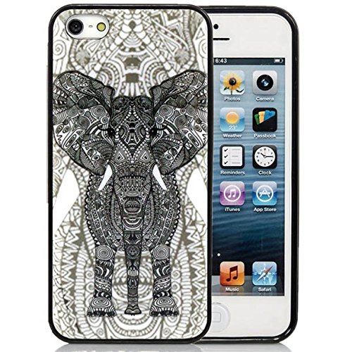 iPhone 5C Case,iPhone 5C Black Case, Dsigo TPU Full Cover Protective Case for New Apple iPhone 5C - Retro Vintage Aztec hollow elephant pattern