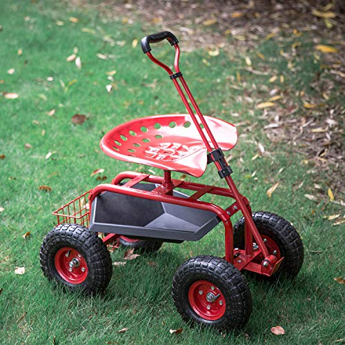 Kinbor Garden Cart Rolling Scooter with Extendable Steering Handle, Swivel Seat & Utility Basket, Red