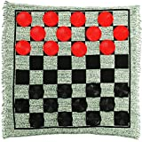 LuluHome Giant Checkers, 3-in-1 Jumbo Checkers Rug Checkers Board Game with Super Tic Tac Toe Set