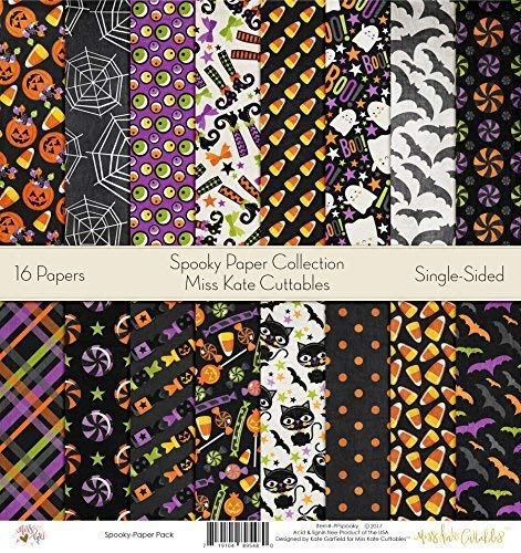 """Pattern Paper Pack - Spooky - Scrapbook Premium Specialty Paper Single-Sided 12""""x12"""" Collection Includes 16 Sheets - by Miss Kate Cuttables"""