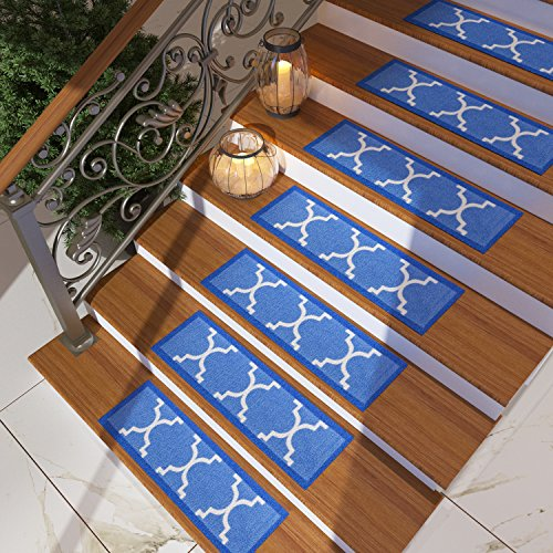 [Set of 7] Blue Stair Tread Rugs | Modern Design Trellis Lattice Carpet Pads [Easy to Clean] Rubber Non-slip Non-skid Backing | Nylon Low Pile 9