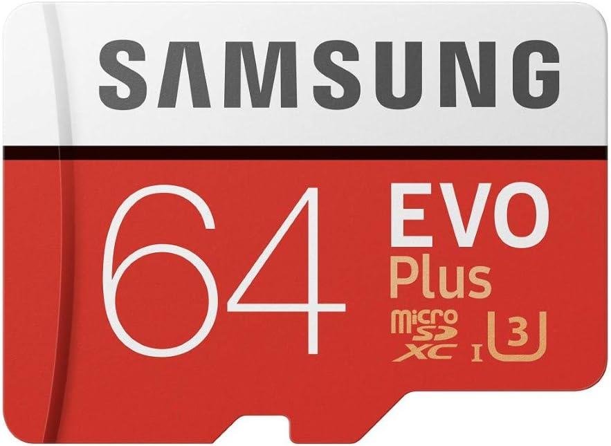 Samsung Carte mémoire microSDXC Pro Plus 64 Go UHS Classe de vitesse 3, classe 10 pour Action Cam, smartphone et tablette avec adaptateur SD (modèle 2017) EVO Plus 64 go rouge/blanc