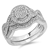 Dazzlingrock Collection 0.50 Carat (ctw) Sterling Silver White Diamond Womens Engagement Ring Set 1/2 CT (Size 6)