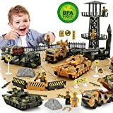 ZUKULIFE Military Vehicles and Army Battle Site Set with Storage Container, 6 Vehicles, Scout Tower, Missile Truck, Tank (Military-playsets)