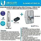Ubiquiti BulletM2-HP BM2HP 600mW Outdoor + POE-24 12W + 2.4GHz 24dB Grid Antenna