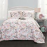Lush Decor Pixie Fox Quilt Reversible 4 Piece Bedding Set - Gray/Pink - Full/Queen Quilt Set