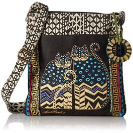 Laurel Burch LB4315 Crossbody Tote with Zipper Top, Spotted Cats