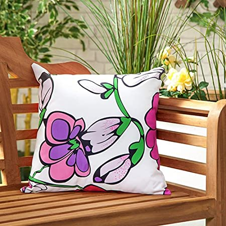 Gardenista Outdoor Water Resistant Filled Cushion Patterned Colourful Design Garden Furniture Accessory 18 Decorative Pillows Flower White Amazon Co Uk Kitchen Home