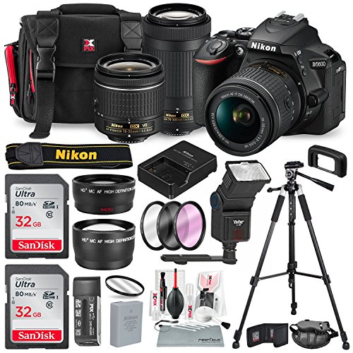 Nikon D5600 DSLR Camera with NIKKOR 18-55mm + 70-300mm Lenses W/2 x 32GB Memory Card + Digital Slave Flash + Filters, Telephoto & Wideangle Lens, Xpix Lens Accessories with Deluxe Bundle