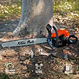 XtremepowerUS 2.7HP Gasoline Chainsaw 2-Stroke Engine Wood Cutting Tree Log Cutter Trimmer w/Blade Cover EPA -52cc