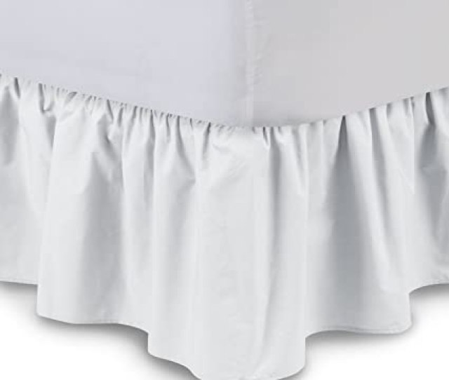 Ruffled Bedskirt Queen White 18 Inch Bed Skirt With Platform Wrinkle And