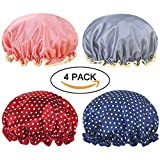 Miracu 4 Pack Lined Satin Shower Caps, Double Layers Waterproof Bath Cap Elastic Reusable Salon Spa Shower Hat for Women