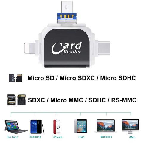 WOHENI SDカードリーダー 4in1 対応メディア