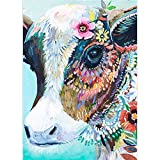 DIY 5D Diamond Painting by Number Kits, Crystal Rhinestone Diamond Embroidery Paintings Pictures Arts Craft for Home Wall Decor, Colorful Cow (Colorful Cow, 11.8 x 15.8 in)