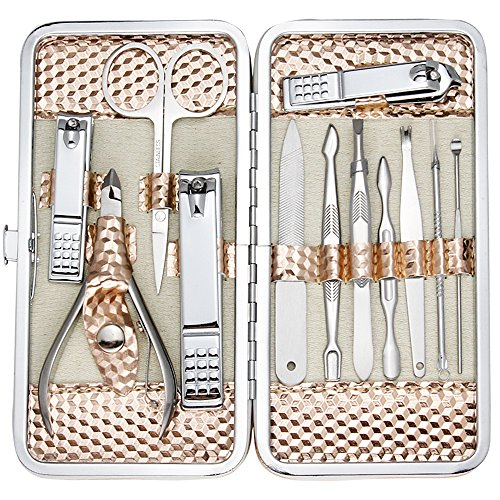 ZIZZON Professional Nail Care kit Manicure Grooming Set with Travel Case(Rose Gold)